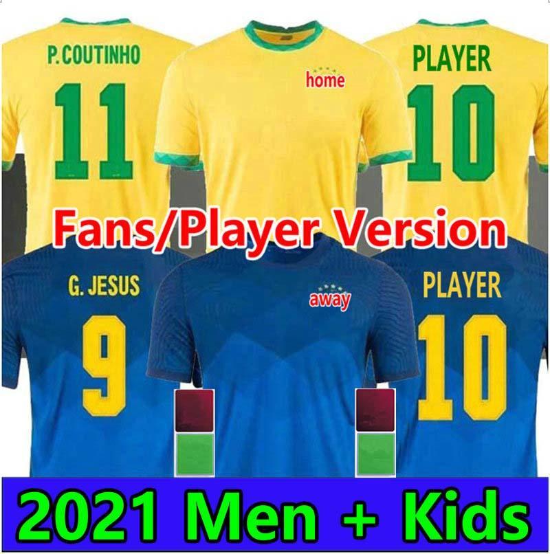 المشجعون لاعب النسخة 2021 Coutinho Richarlison Soccer Jerseys 2022 l.paqueta e.ribeiro fred g.jesus casemiro fridsino النساء الرجال الاطفال كرة القدم القمصان camesitas دي فوتول