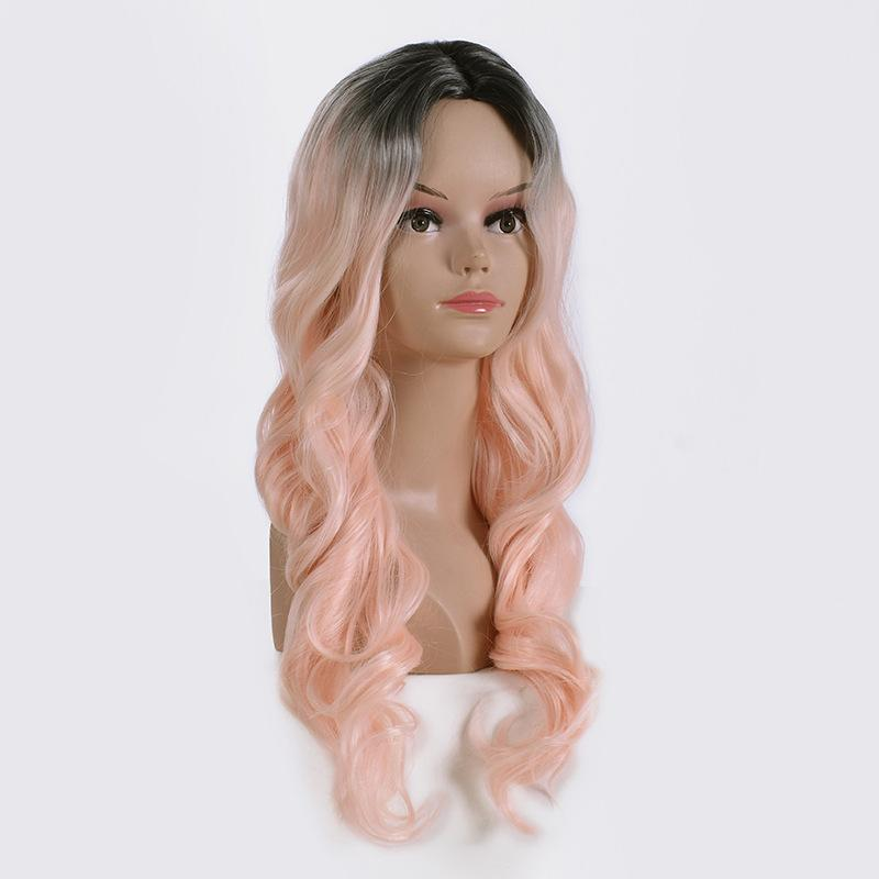 2021 new European and American fashion wig temperament women's long curls in the shape of news dyeing gradient pink wig rose net wigs
