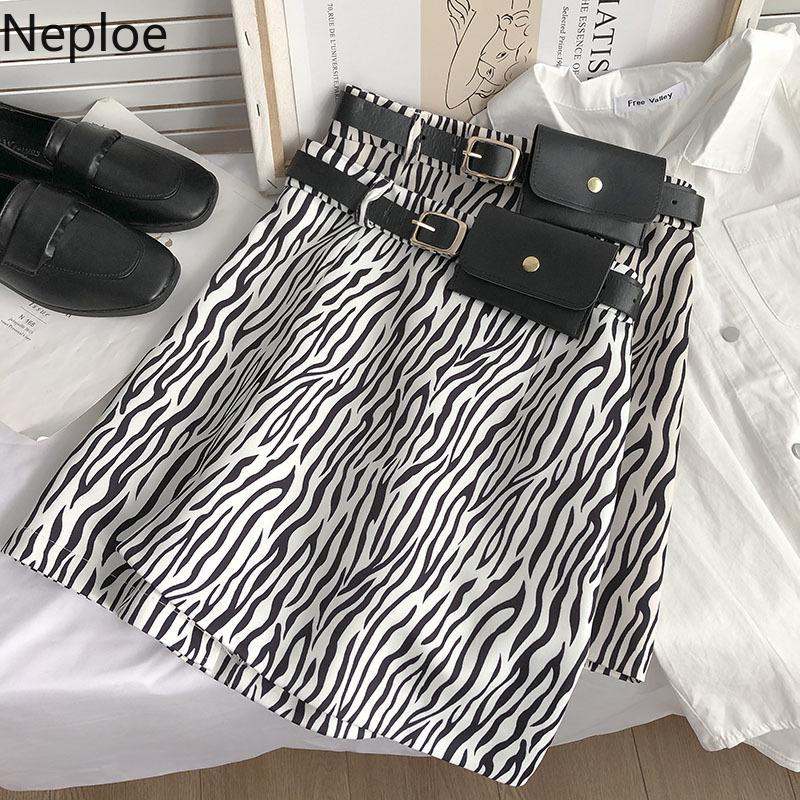 Zebra Çizgili Gömlek Kadınlar ile Cepler Yaz Kore Robe Vintage Mini Faldas Mujer Moda Bodycon Chic Jupe 95127 210422
