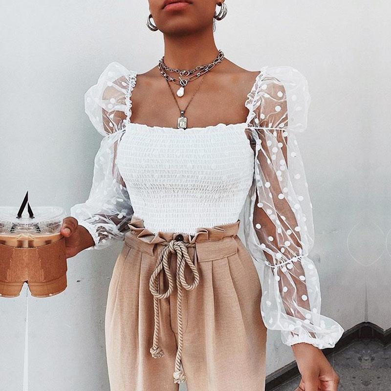Damen Sommer Outfit Polka Dot Mesh Sehen Durch Plissee Massivfarbe Lange Puff Sleeve Slim Wild Mode Top Shirt Blusen Hemden