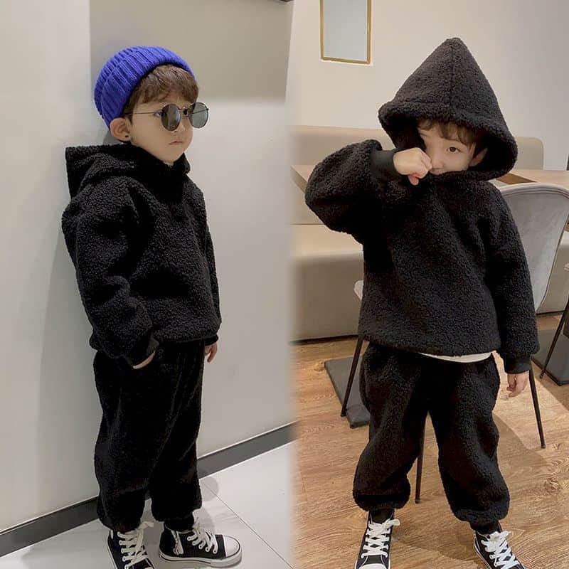 Giyim Setleri Çocuk Takım Elbise Moda 2021 Bahar Kore Erkek ve Kız 'Casual Kuzu Aşağı Kazak Pantolon İki Parçalı Set Bebek Kız Giysileri