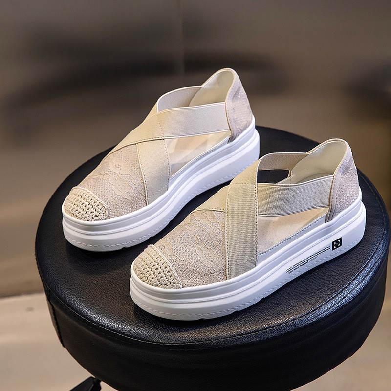 Pescador Sandalias Mujeres 2021 Moda de verano Desgaste externo Baotou Casual Casual Suela gruesa transpirable All-Match Shoes