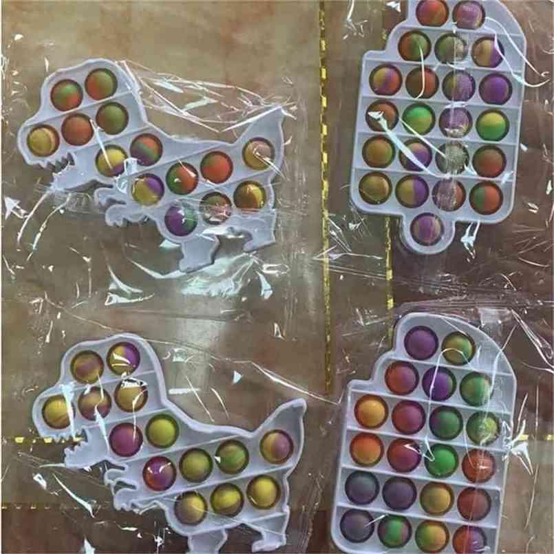 Popsicle Octopus Urso Borboleta Formas Empurre Pop Fidget Bubble Popper Board Poo Seu Sensory Dedo Puzzle Brinquedos de Desktop Fingertips Stress Relief Relief Plástico Duro G57R27N