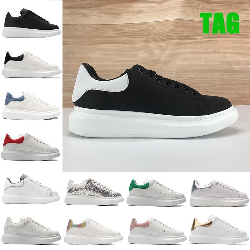 2021 ارتفاع منصة عارضة الأحذية العاكسة الثلاثي أسود أبيض متعدد الألوان الأخضر المخملية العلوي الرجال النساء أزياء جلد طبيعي رجل أحذية رياضية