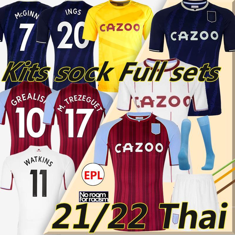 21/22 Aston Soccer Jerseys Villa Buendía Traore Barkley 2021 2022 Watkins Wesley El Ghazi M.Trezeguet Chemise de football McGinn Men Kids Kits Chaussettes
