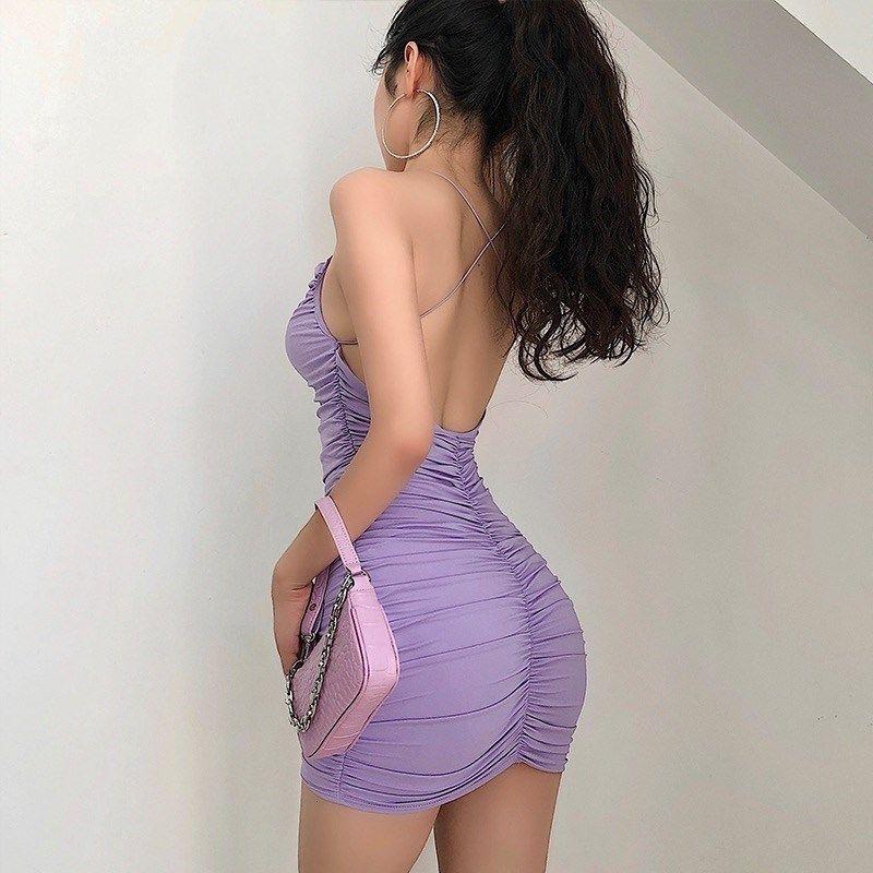 Vestidos casuales de las señoras cruzar el backless erótico sexy verano apretado bolso cadera mini vestido