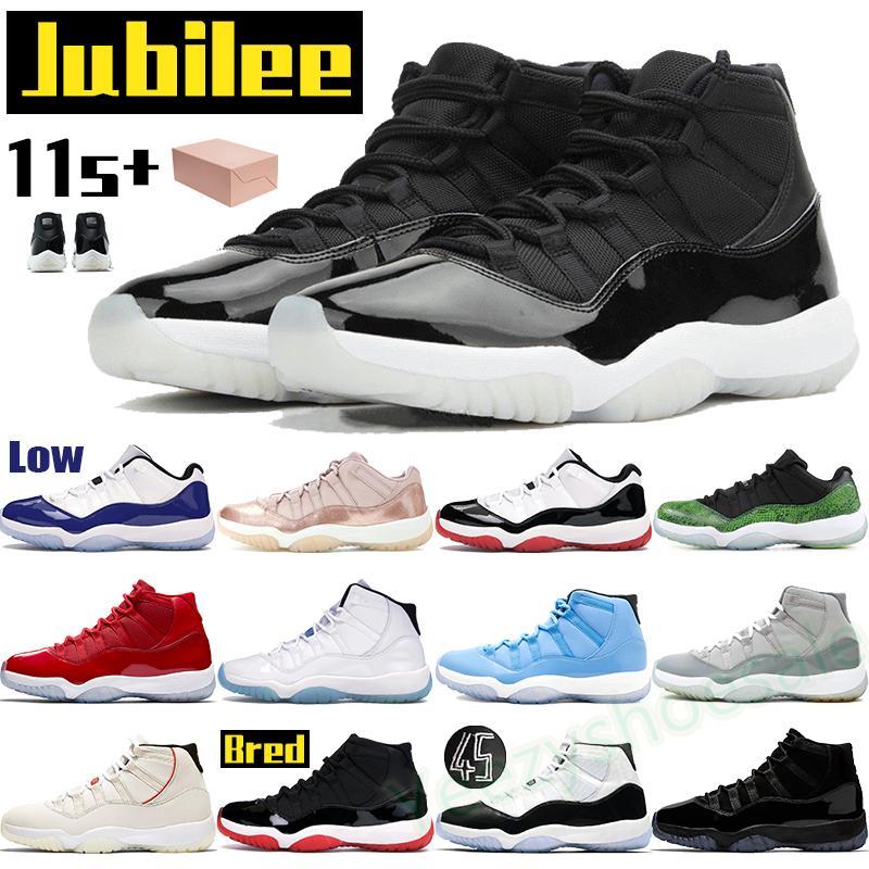 높은 11 11s 남성 농구 신발 운동화 Og Bred Jubilee 전설 블루 콩코드 45 차가운 회색 상속인 블랙 낮은 로즈 골드 체리 트레이너 상자