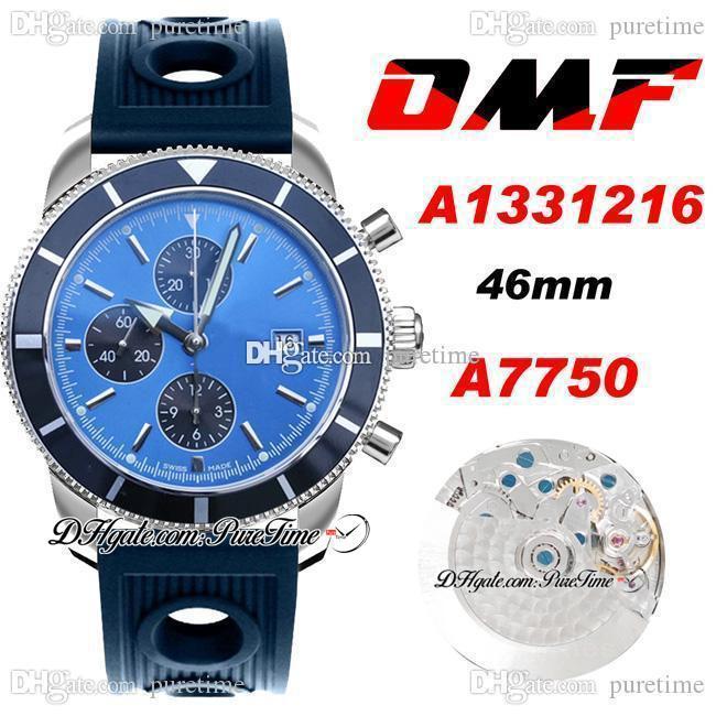 OMF Supercean Heritage II A7750 Otomatik Chronograph Erkek İzle A1331216 46mm Mavi Siyah Dial Sopa Markers Kauçuk Delikli Süper Baskı Saatler ETA Puretime