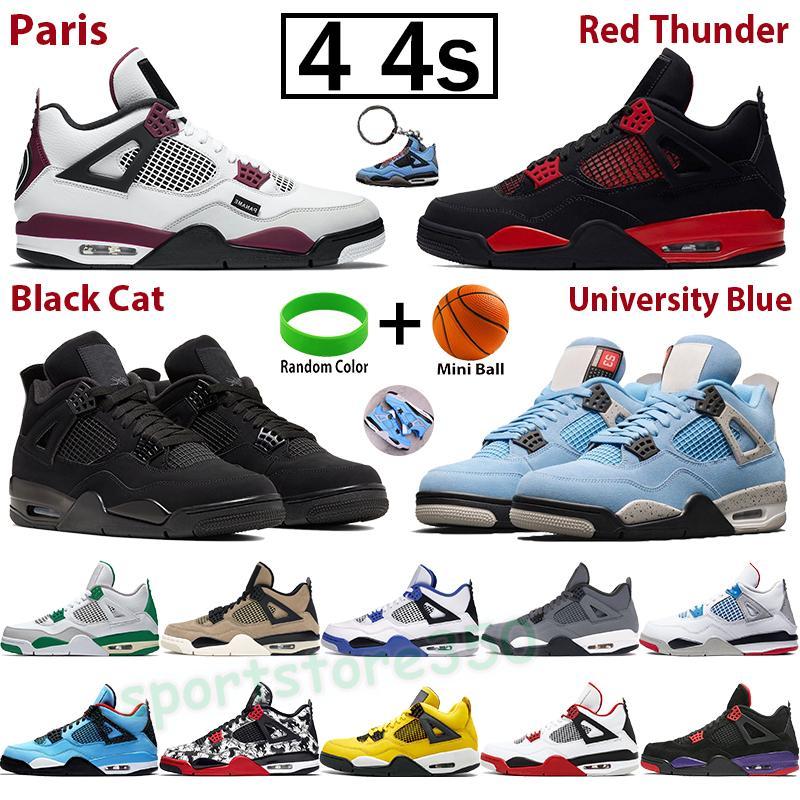 4 4s Noir Guava Buz Mavi Erkek Basketbol Ayakkabıları Paris Beyaz X Yelken Bred Se Neon Raste Tur Sarı Denim oyunu Kraliyet Sneakers