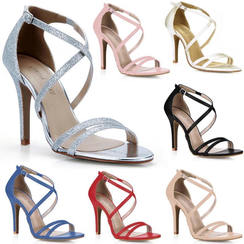 Moda sexy fiesta de noche zapatos de mujer Stiletto High Heel Cross Strap Sandals con hebilla más Tamaño 5186-16A