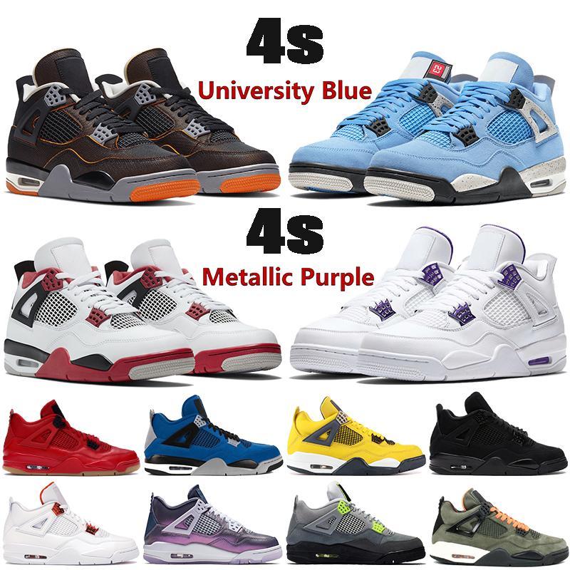 2020 yeni 4 4s Jumpman basketbol ayakkabıları OVO Sıçramak metalik mor kırmızı yeşil yetiştirilmiş siyah kedi açık erkek Sneakers ABD 7-13