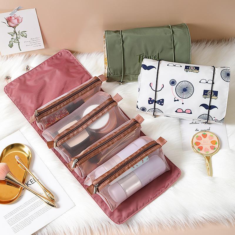 Storage Boxes & Bins 4PCS In 1 Cosmetic Bag For Women Zipper Mesh Separable Cosmetics Pouch Ladies Foldable Nylon Rope Makeup Kosmetyczka
