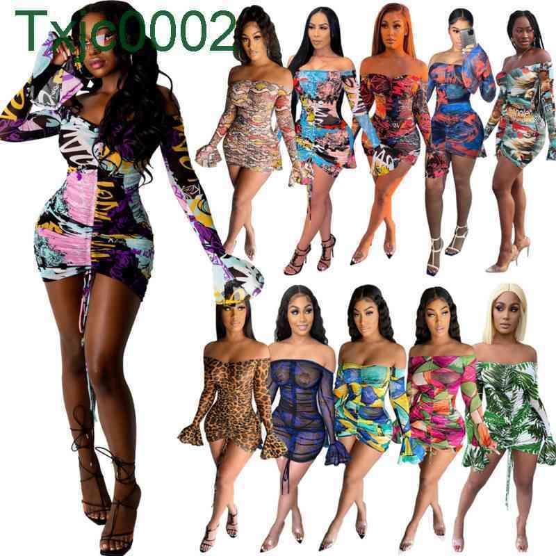 Women Dress Slim Sexy Designer Midi Dresses One Shoulder Floral Long Sleeve Flared Sleeves Screen Printed Perspective Summer Skirt