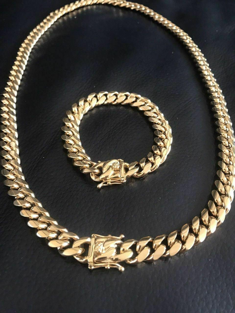 12mm erkek Miami Küba Link Bilezik Zincir Seti 14 K Altın Kaplama Paslanmaz Çelik