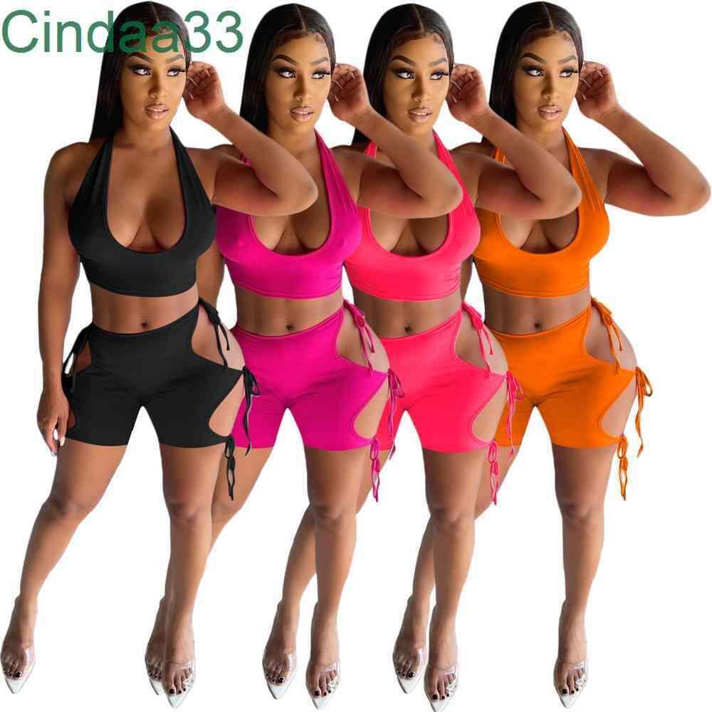 Yaz Kadın Eşofman İki Adet Set Tasarımcı Ince Seksi Streç Yelek Şort Bandaj Tasarım Katı Renk Jogger Setleri Yoga Kıyafetler Artı Boyutu Sportwear