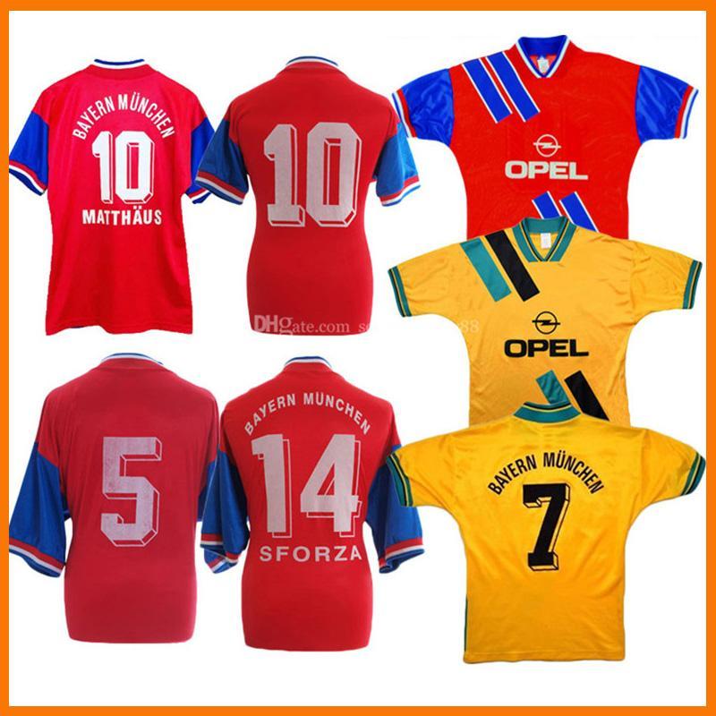 Retro 1993-95 Munich Jerseys de fútbol Matthaus Hogar Red Way Vintage Classic Matthäus Scholl Nerlinger Labbad Camisetas de fútbol
