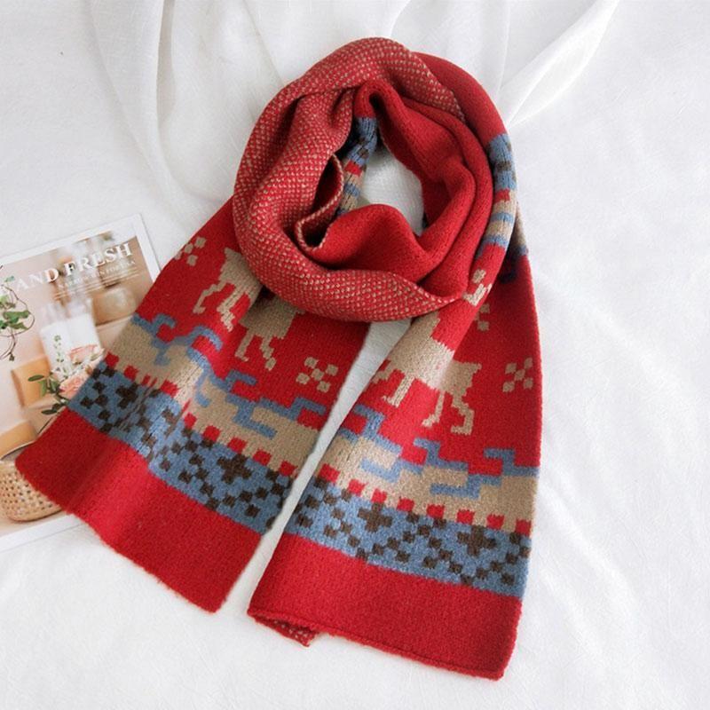 لينة طويلة الأوشحة شالات يلتف الصغيرة منقوشة الأيائل نمط سميكة الدافئة الصوف محبوك وشاح رئيس خمر عيد الميلاد