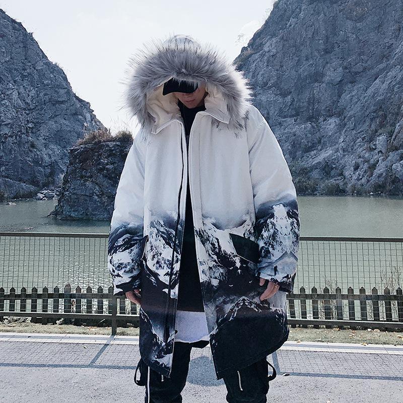 힙합 재킷 파카 스노우 마운틴 프린트 남성 겨울 윈드 브레이커 Streetwear Harajuku 패딩 자켓 코트 따뜻한 outwear WZ101 남자의 아래로