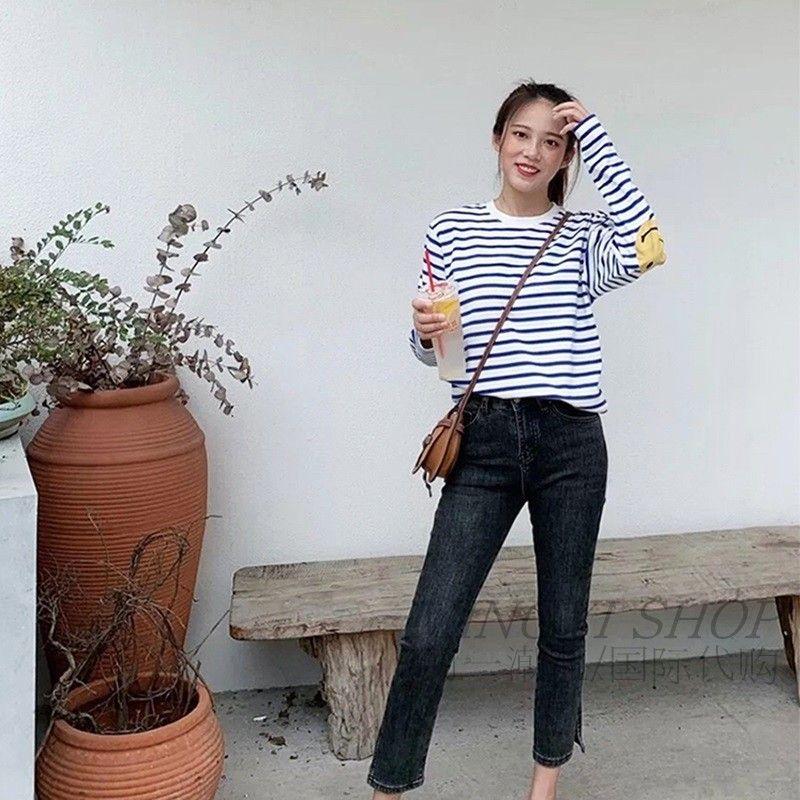 Kapital 21ss Hirata Hiro Tanzhu Baumwolle Arm Smile Streifen T-Shirt Liebhaber Lässige Langarm T-Shirt