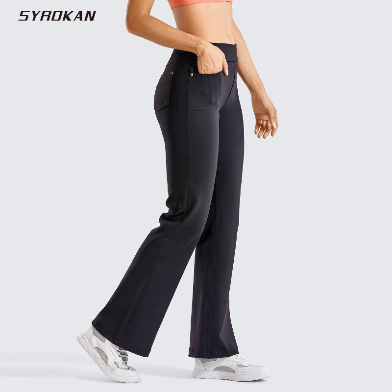 Flare Yoga Pantalon pour femmes Bootcut Taille élastique Taille moyenne Causale Bootleg Bootleg TRAVAIL AVEC POCKES (INSTAM: 31 pouces) 1