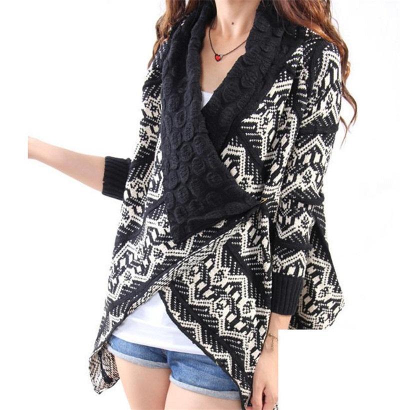 유럽의 미국 기하학적 패턴 거품 칼라 니트 카디 건 스웨터 코트 패션 캐주얼 다재어 숄 여성의 니트 티셔츠
