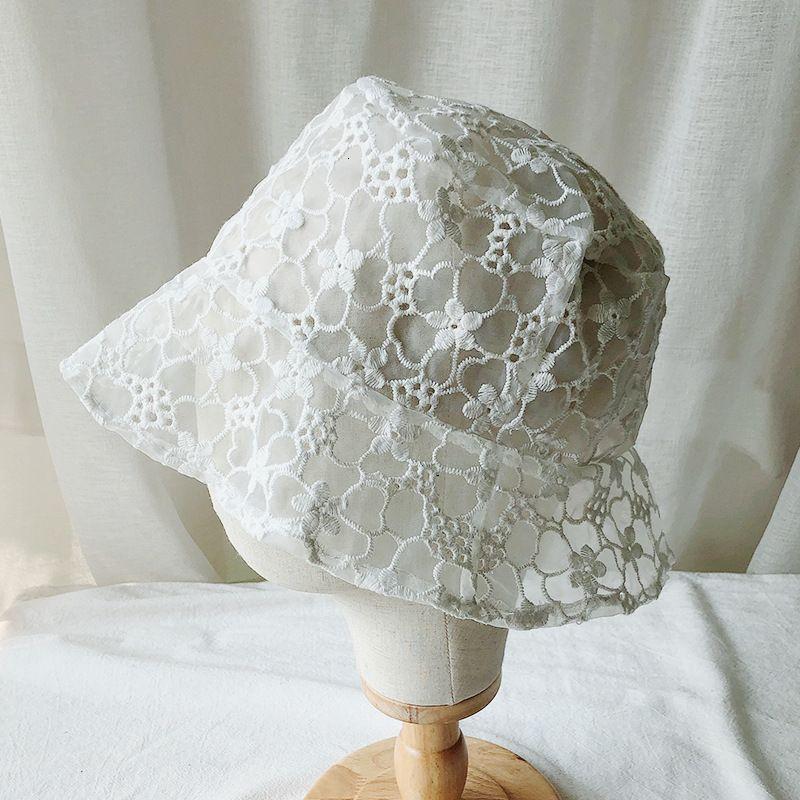 2021 summer new women's net red same transparent lace fisherman's versatile super hat