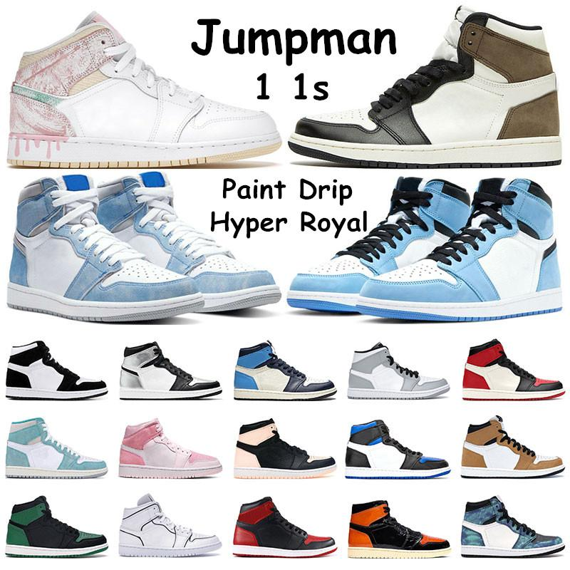 air retro jordan 1 Jumpman 1 University Blue Basketball Shoes 1S 어두운 모카 하이퍼 로얄 흑요석 실버 발가락 망 운동화 트위스트 페인트 드립 Womens 스포츠 트레이너