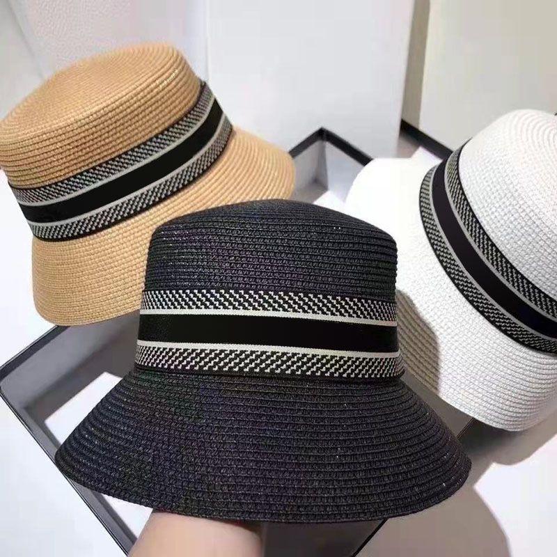 Женские летние пляжные шапки дизайнеры моды широкий краевые солома Федора шляпа женские ковры шляпы случайные плетения полоса
