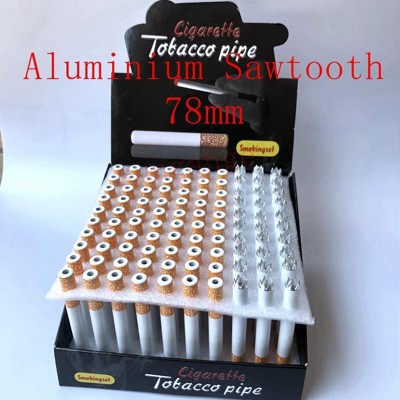 100 pcs / lot en aluminium en aluminium forme de cigarette tabagez des tuyaux en alliage d'aluminium d'aluminium de scie d'une batte à hatension pour accessoires d'outils d'herbes de tabac