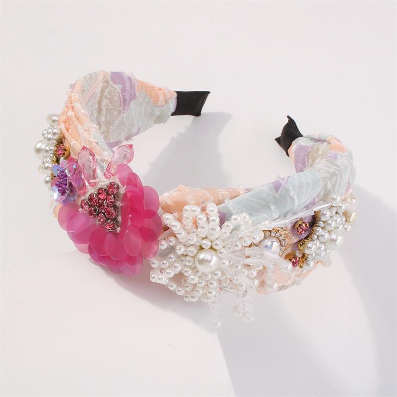 Moda creativa floral hembra diademas personalidad imitación perla franja flor diadema desgaste amistad amable decorado accesorios para el cabello
