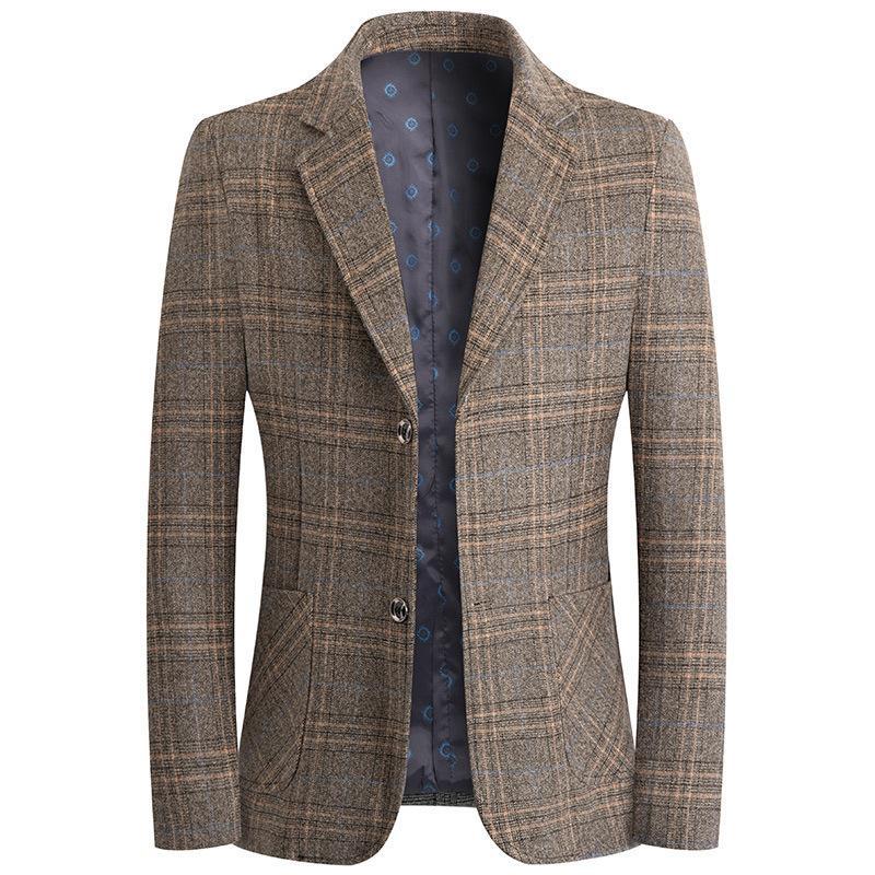 Trajes 2021 Primavera y otoño Traje de hombre ocio Lista de tela escocesa occidental Abrigo de moda juventud