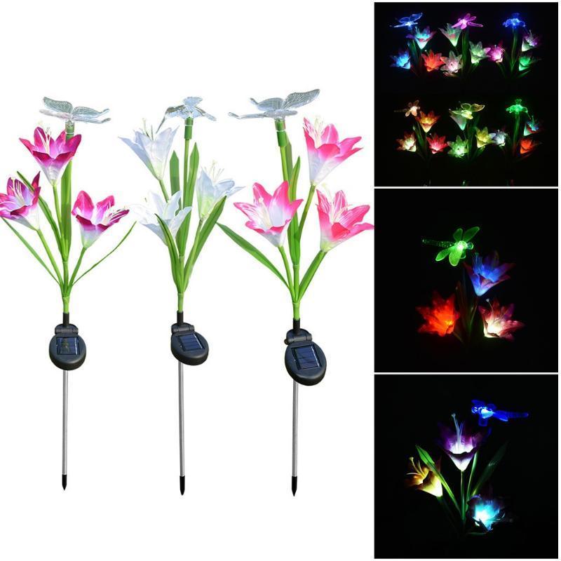 Çim Lambaları LED Güneş Simülasyonu Gül Çiçek Işık Su Geçirmez Bahçe Peyzaj Lambası Açık Ev Dekoratif Işıklar