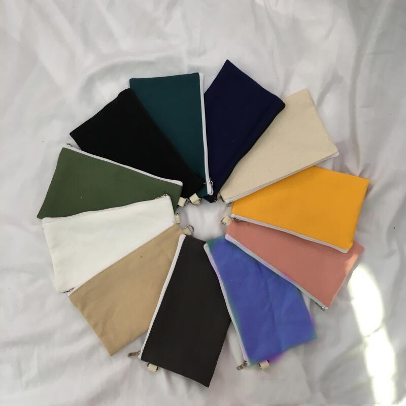 Capas de lápis colorido em branco de lona do lápis do zíper Cosmetic Sacos da embreagem