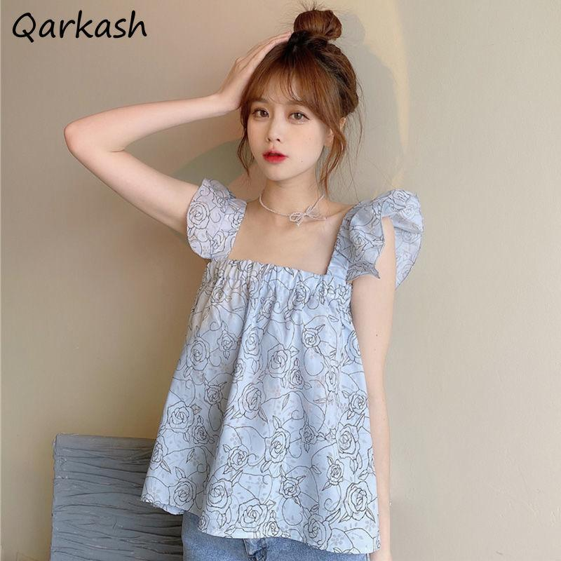 Women's Tanks & Camis Camisole Women Kawaiii Loose Aesthetic Trendy Summer Square Collar Female Floral Chic Streetwear Ins Holiday Mujer Swe