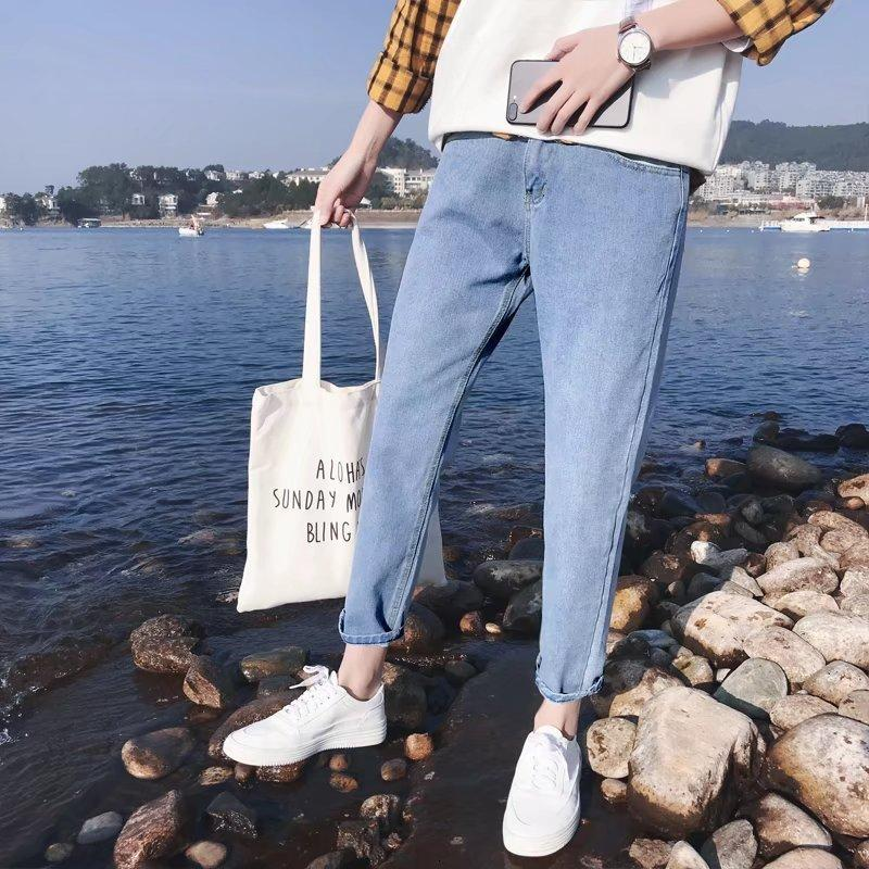 Slim Fit Kleine Füße Koreanische Mode Lose Seil Casual Straight Elastic Herren Capris Jeans