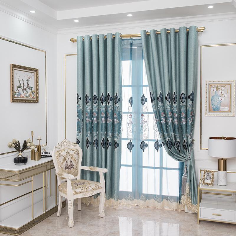 Vorhangvorhänge Luxus Europäische Vorhänge für Wohnzimmer Schlafzimmer hochwertige Benutzerdefinierte Chenille Stickerei Sheer Pethus Tuch