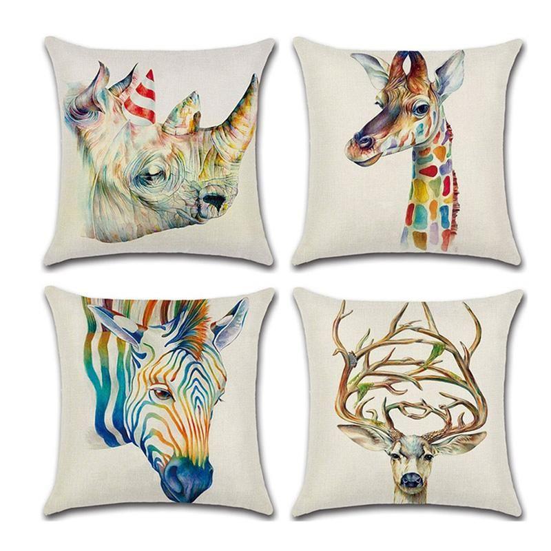 Cushion/Decorative Pillow 3D Animal Cartoon Cushion Cover Printed Soft Linen Throw Pillowcase For Living Room Seat Waist Decorative Funda Co