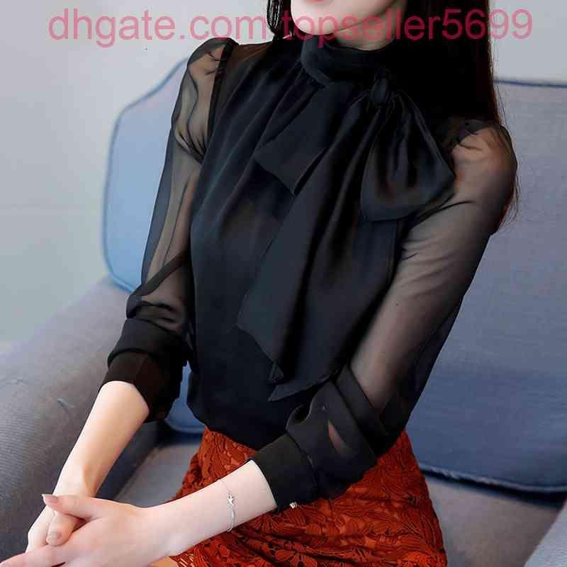 Bahar Uzun Şeffaf Kollu Papyon Yaka Siyah Bluzlar Kadın Twhit Gömlek Tops