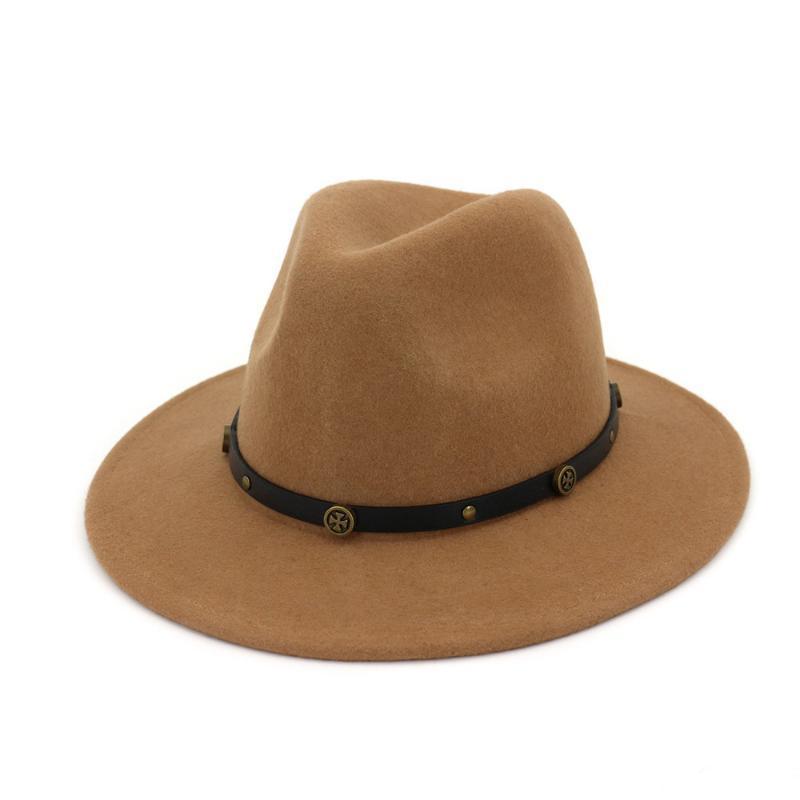 남성 여성 양모 페도라 모자 우아한 레이디 파티 넓은 모자