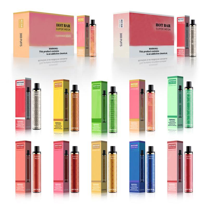 3000Puffs Otantik E-Sigaralar Hotbar Süper Mega Tek Kullanımlık Vape Kalem 1350 mAh Pil Cihazı VS Puff XXL Hava Bar Max Randm Tatlı Stil