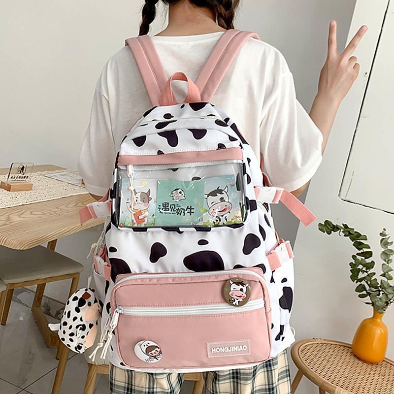 Backpack Waterproof Cute Cow Print Large Capacity Backpacks For Girls School Bags Women's Fashion Shoulder Kawaii Bag
