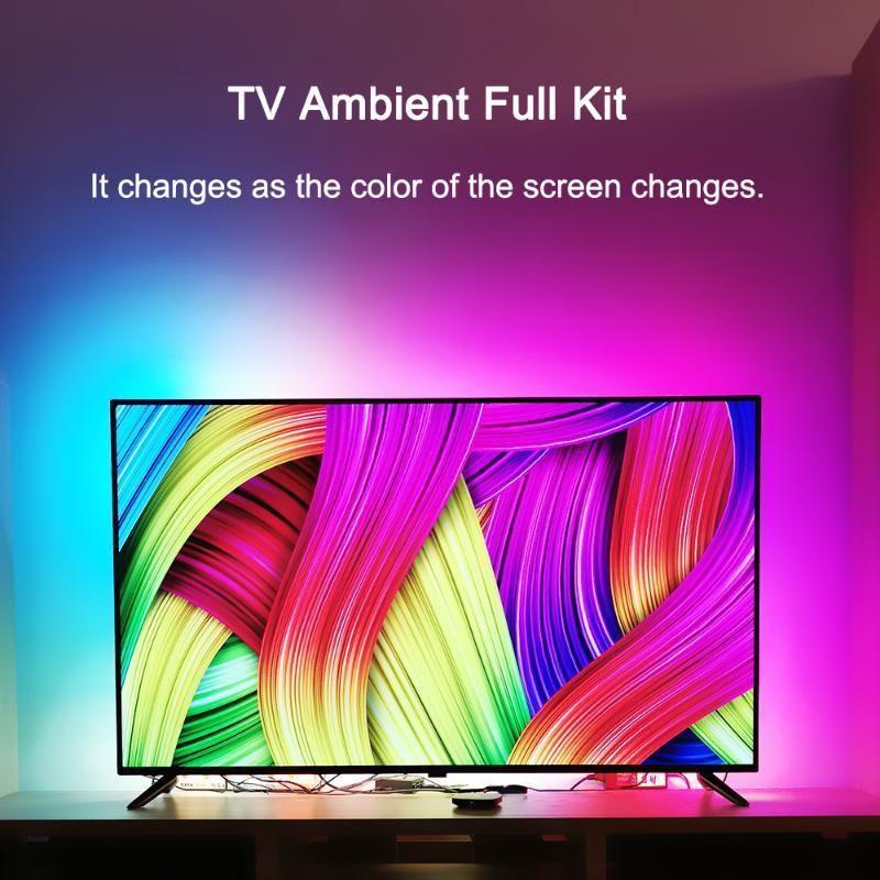 Полосы Ambient Light TV Kit для HDMI-совместимых устройств Экран мечты HDTV Компьютерный монитор Подсветка задней подсветки WS2812B USB светодиодная полоса