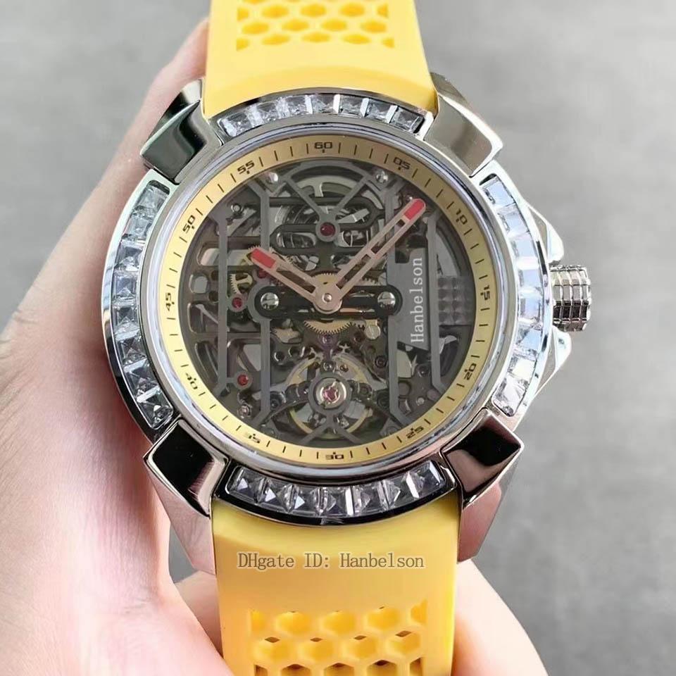 Yeni Erkekler Saatler Elmas Çerçeve Otomatik Hareketi Güç Rezervi Turbillon Sarı Kauçuk Kayış İskelet Dial LuxuSUHR Saatler Reloj de Lujo