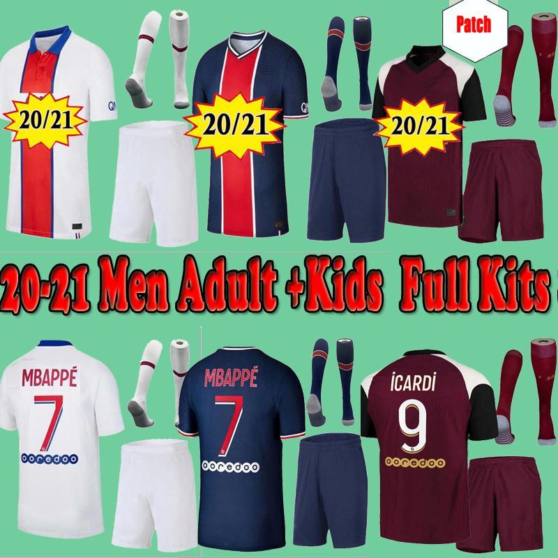 Kids PSG Paris saint germain kits 20 21 jersey football 2020 2021 MBAPPE ICARDI chemise hommes JR neymar enfants ensembles uniformes de pied Paris Maillot hommes