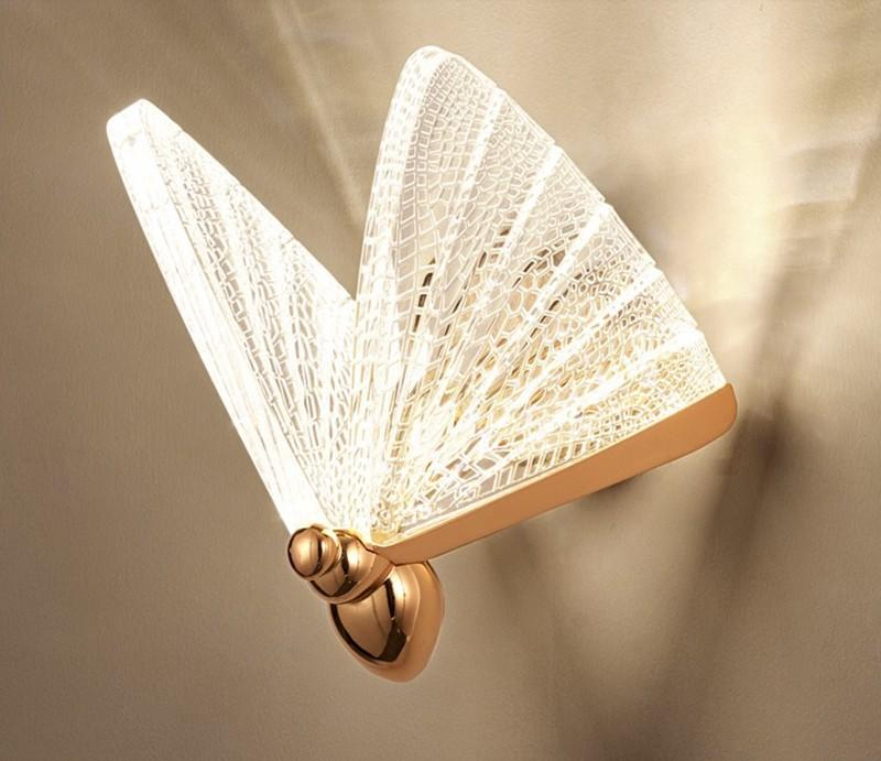 2021 Butterfly Wall lamp Nordic Modern Minimalist luxury Staircase Bedside Bedroom Background Aisle Lighting Decoration