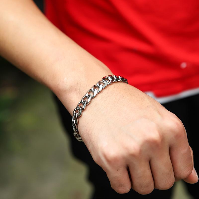 Link, Chain Rock Sports Jewelry Cuban Link Bracelet For Men Women Curb Silver Color Hippie Hip Hop Wholesale Party