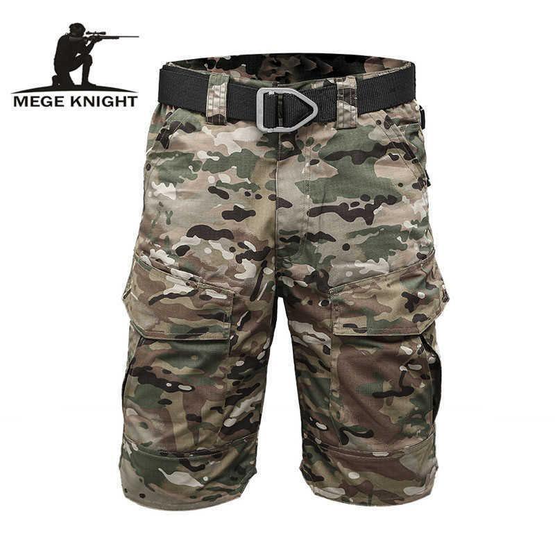 Mege Knight Marque Tactical Hommes Militaire Camouflage Courte Multi Poche Été Respirant Respirant Sèche Sèche Male Pantalon court X0601