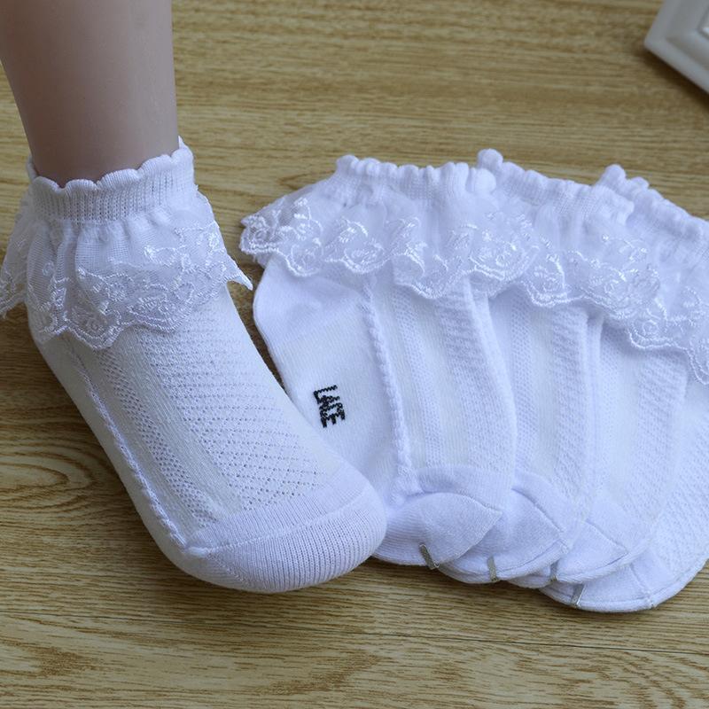 Baby Girls Lace Edge Calcetines de algodón Girls Big Girls Primavera Autumn Summer Mesh Socks Children Princess Dance Socks XYS 001