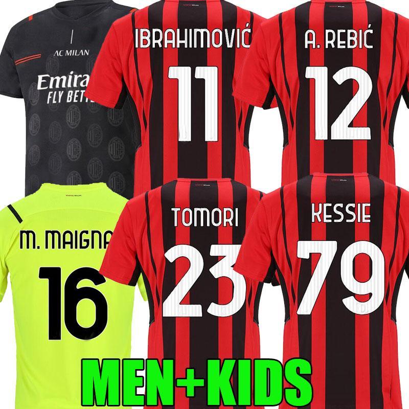 21 22 Tomori AC Futebol Milan Jerseys 2021 2022 Ibrahimovic Tonali Mandzukic Kessie M. Maignan Homens Kit Kits Rebic Leaootal Treinamento de Futebol Camisas Fans Player Version