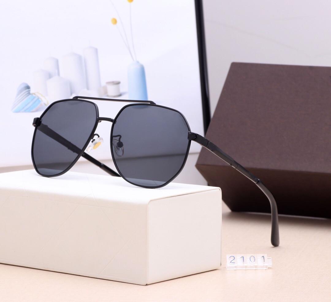클래식 라운드 선글라스 브랜드 디자인 UV400 안경 금속 골드 프레임 태양 안경 남성 여성 미러 2101 선글라스 폴라로이드 유리 렌즈